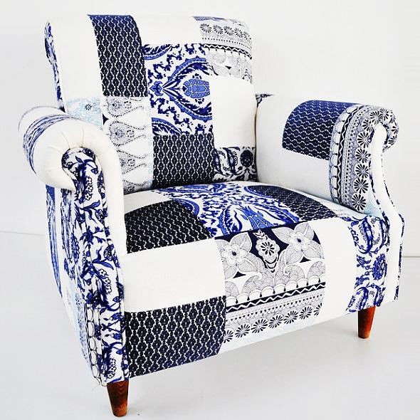 Fauteuil Patchwork, Fauteuil Patchwork Blanc et Bleu par Name Design Studio