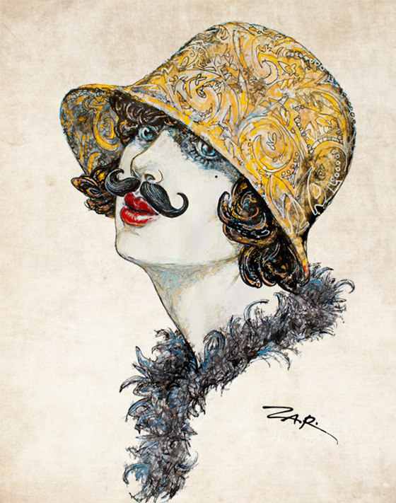 Zar Zahariev Art Deco Illustrations 7 Zar Zahariev Illustrations : Belle Dame au Chapeau