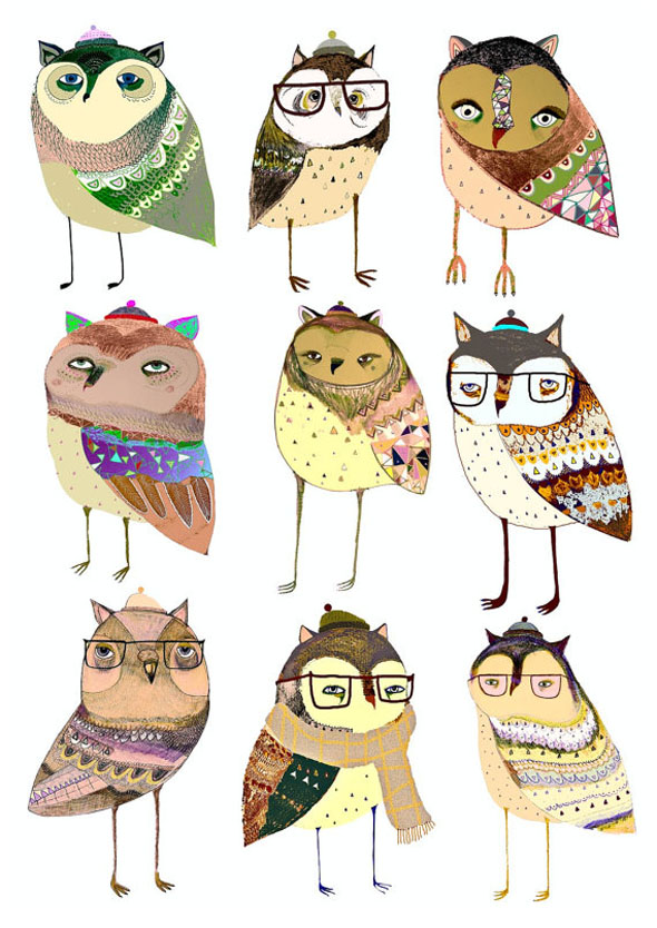 AshleyPercival Owl Chouettes Print 1 Ashley Percival Illustrations : Des Chouettes Graphiques et Colorées