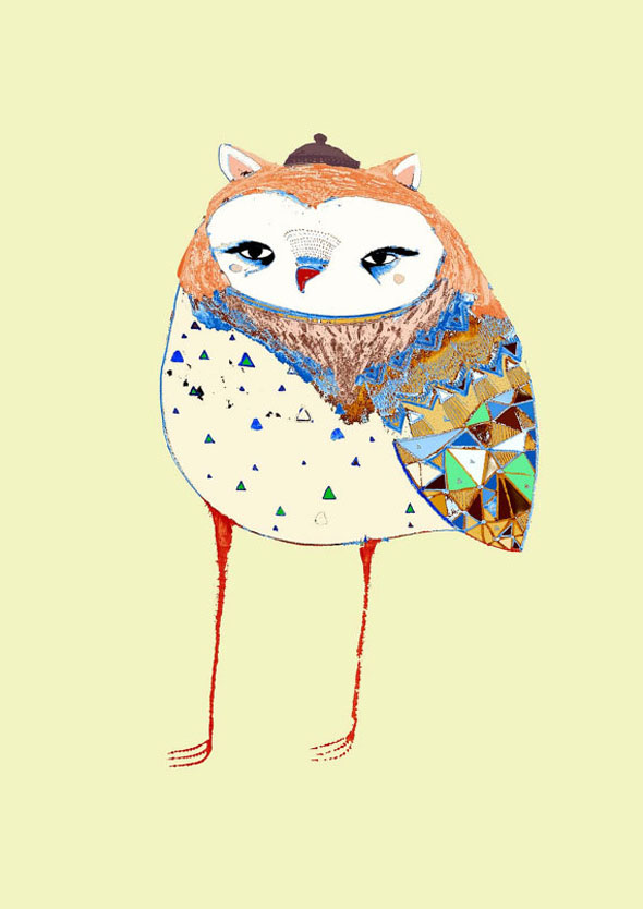 AshleyPercival Owl Chouettes Print 2 Ashley Percival Illustrations : Des Chouettes Graphiques et Colorées