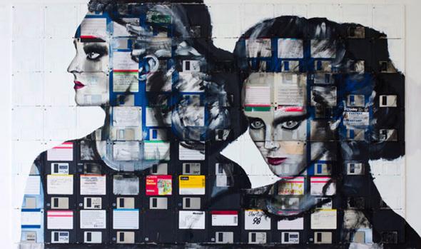 , Portraits par Nick Gentry : Recyclage Artistique de Disquettes