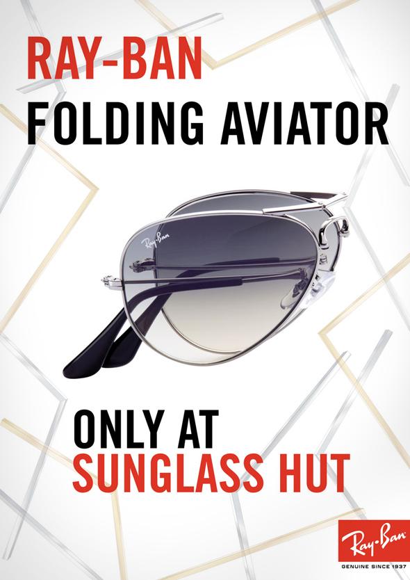 , Lunettes de Soleil Ray Ban Folding Aviator à Montures Pliables