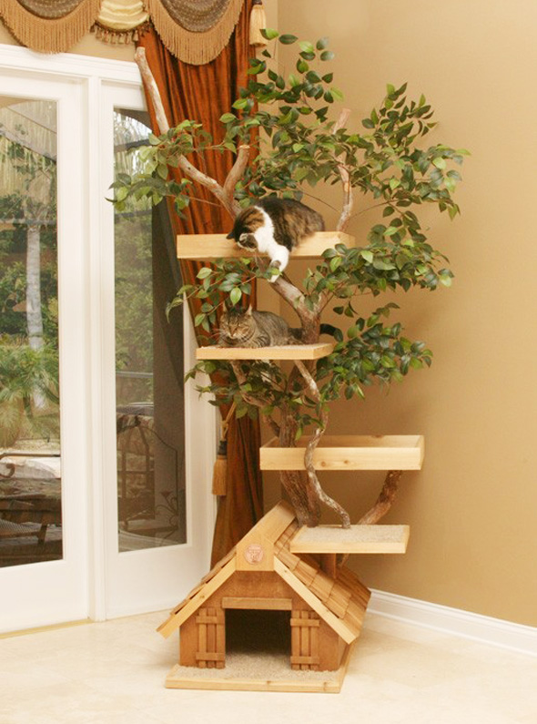 Pet Tree Houses Arbre Chat 2 Pet Tree Houses : Maisons Arbres en Bois pour Chats