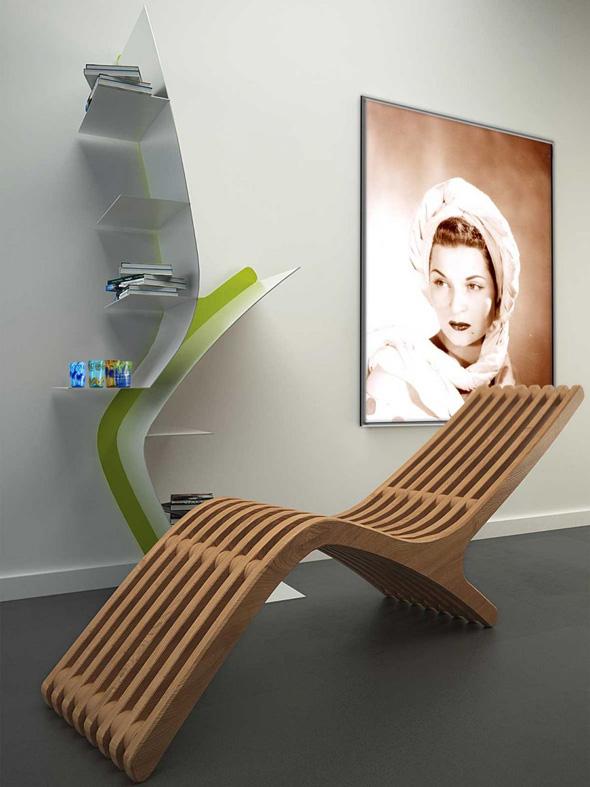 Iside Par Dima Design Chaise Longue Bibliotheque En Bois