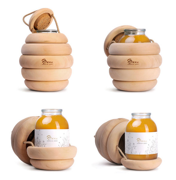 , Bzzz Honey par Backbone Studio : Pots de Miel en Ruches
