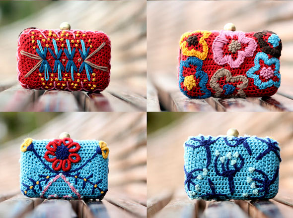 , Lanusa : Adorables Pochettes en Crochet et en Fleur