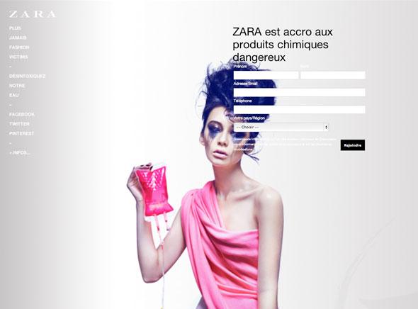 2 Greenpeace Zara Greenpeace contre Zara, C&A, Mango, Levis, M&S : Cette Mode qui Empoisonne la Vie
