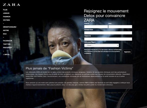 4 Greenpeace Zara Greenpeace contre Zara, C&A, Mango, Levis, M&S : Cette Mode qui Empoisonne la Vie