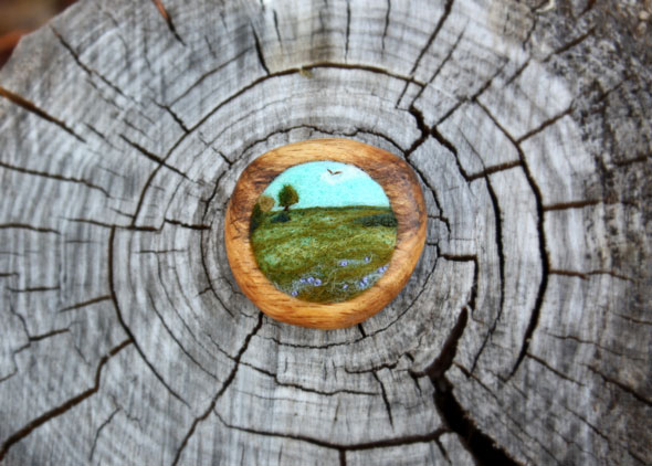 broches paysages miniatures lil fish studios, Lil Fish Studios : Broches Paysages en Feutrine