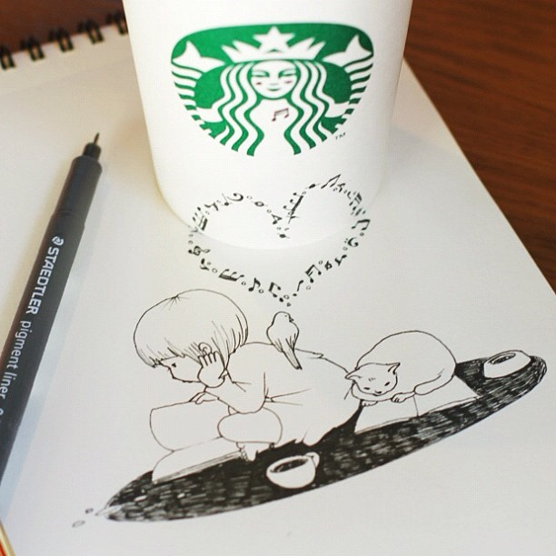 , Tomoko Shintani : Gobelets Starbucks et Illustrations Poétiques