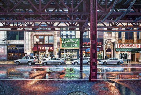 Peintures par Nathan Walsh : Paysages Urbains Hyperréalistes