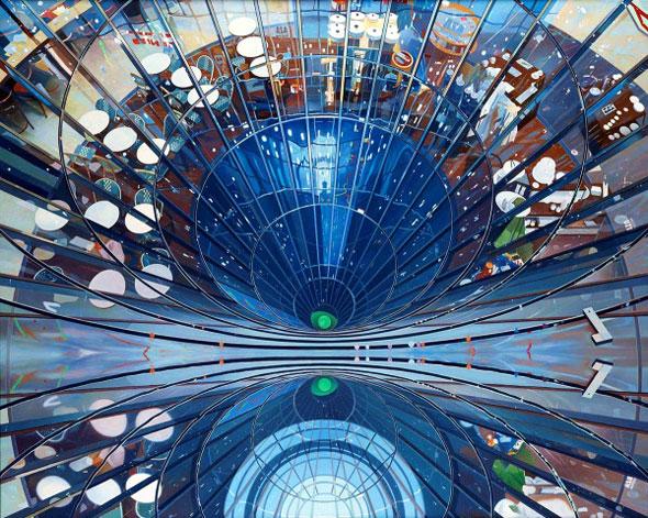 4 Peintures Hyperrealistes Nathan Walsh Peintures par Nathan Walsh : Paysages Urbains Hyperréalistes