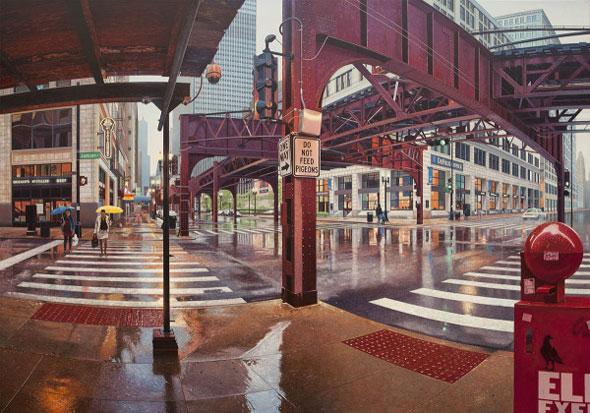 5 Peintures Hyperrealistes Nathan Walsh Peintures par Nathan Walsh : Paysages Urbains Hyperréalistes