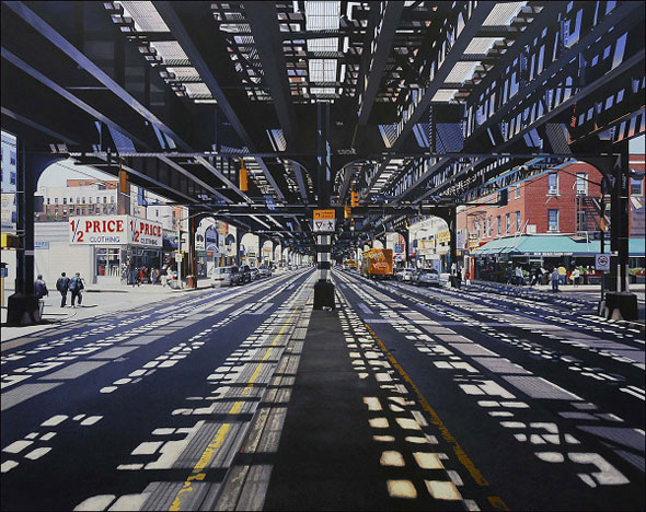 6 Peintures Hyperrealistes Nathan Walsh Peintures par Nathan Walsh : Paysages Urbains Hyperréalistes