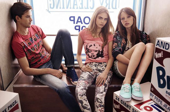Campagne Pepe Jeans London Printemps Ete 2013 avec Cara Delevingne
