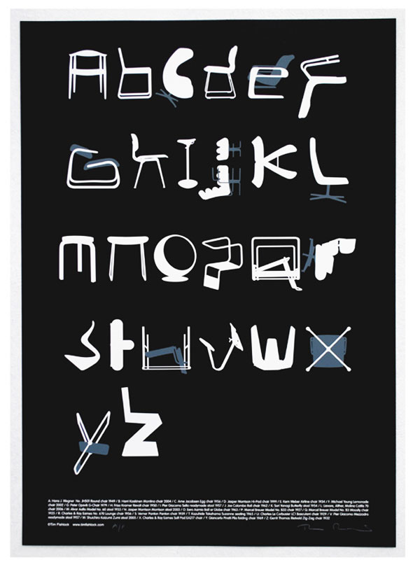 2 Poster Chair Alphabet Tim Fishlock - Chair Alphabet par Tim Fishlock : Poster Déco de Fauteuils Design
