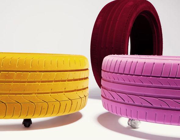 , Tire Table par Tavomatico : Pneu Transformé en Petite Table Design