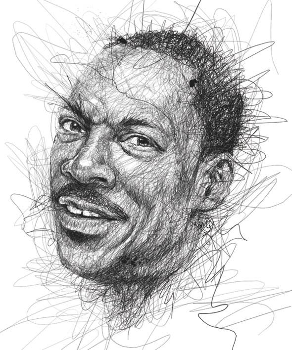 , Faces par Vince Low : Portraits de Stars Dessinés en Gribouillage