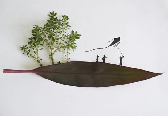 , Illustrations par Tang Chiew Ling : Feuilles Vertes et Silhouettes à l'Encre