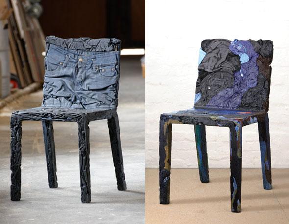 , RememberMe par Tobias Juretzek : Chaises en Jeans Recyclés et Compressés