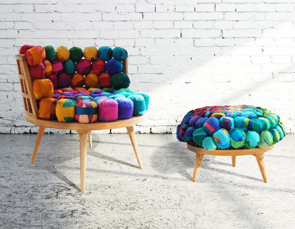 , Chaise et Ottoman par Meb Rure : De la Soie Recyclée et des Couleurs
