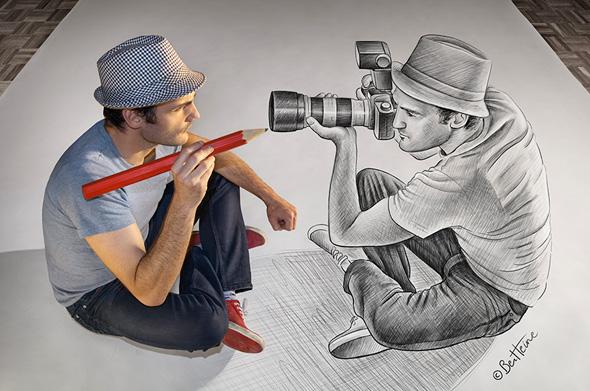 , Pencil vs Camera par Ben Heine : Photo Portrait et Dessins en 3D