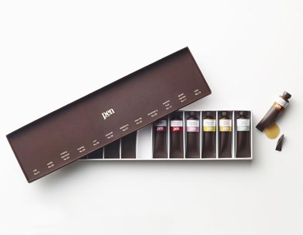 Tube Peintures Chocolat Nendo Studio Pen Magazine 1 - Chocolate Paint par Nendo : Boîte et Tubes de Peinture en Chocolat