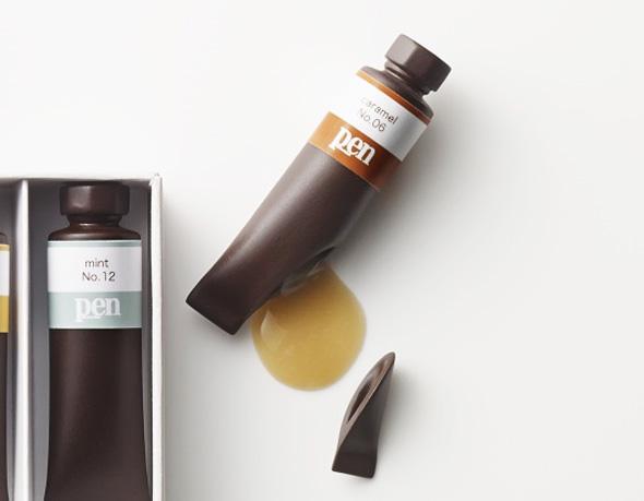 , Chocolate Paint par Nendo : Boîte et Tubes de Peinture en Chocolat