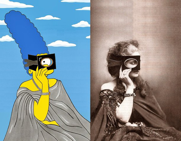 , Iconic Dresses par Alexsandro Palombo : Marge Simpson en Robes Couture