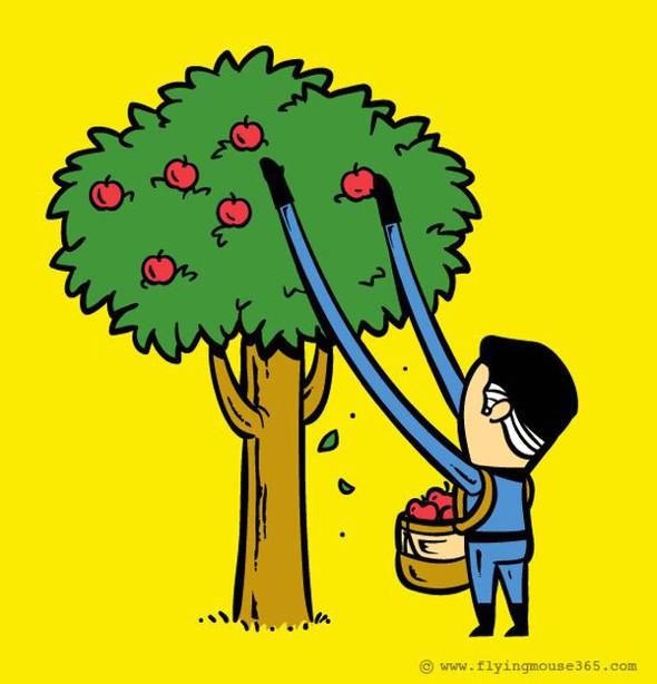 , Illustrations par Chow Hon Lam : Les Super Héros changent de Travail