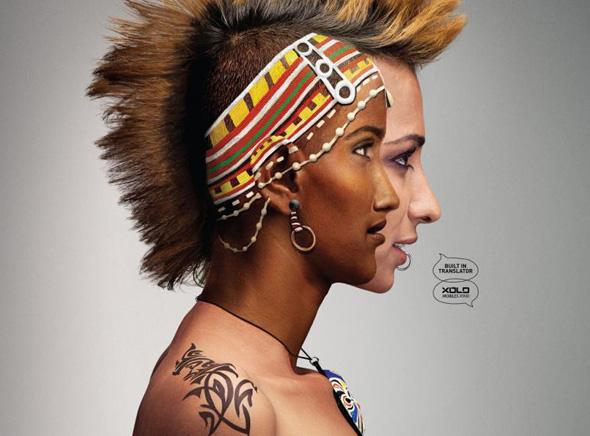 , Pub Xolo Mobiles X900 : Body Painting au Double Visage