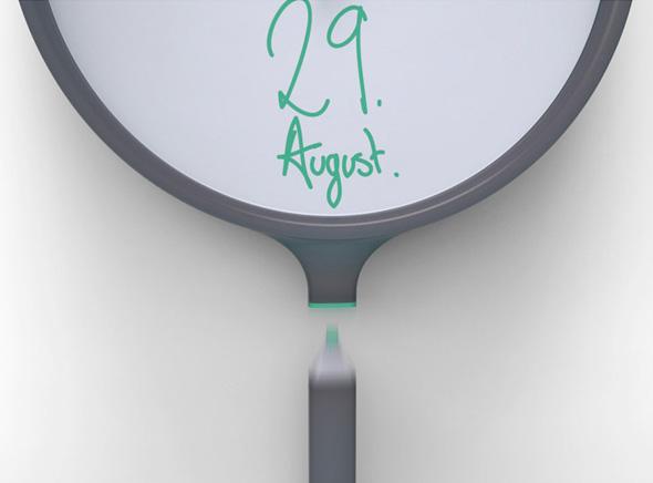 , Little Note Clock par Tim Defleur : Horloge Murale à Crayonner