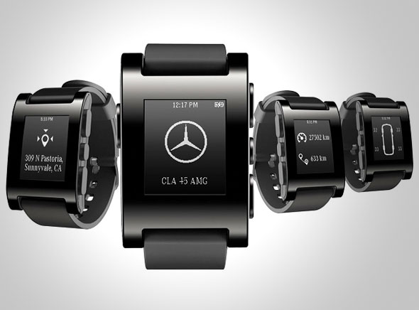 Pebble-Watch-Montre-Connectee-Mercedes-Benz-Voiture-1