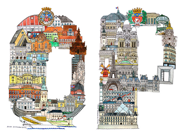 , Illustration Alphabet des Villes Européennes par Hugo Yoshikawa