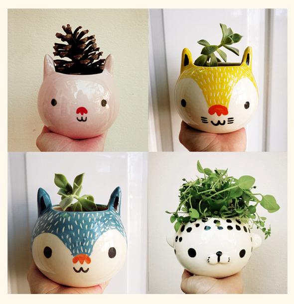 , Mini Jardinières Kawaii par Miriam Brugmann : Des Animaux Pleins les Pots