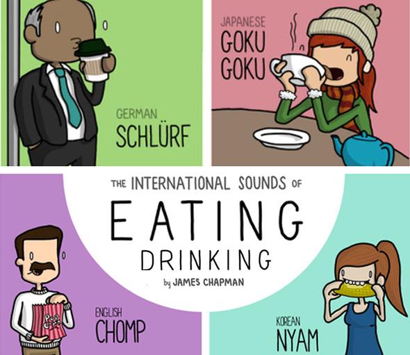 , Illustrations des Onomatopées Gourmandes autour du Monde par James Chapman