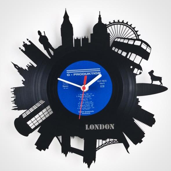 , Artistiques Disques Vinyles Sculptés et Recyclés en Horloges Murales