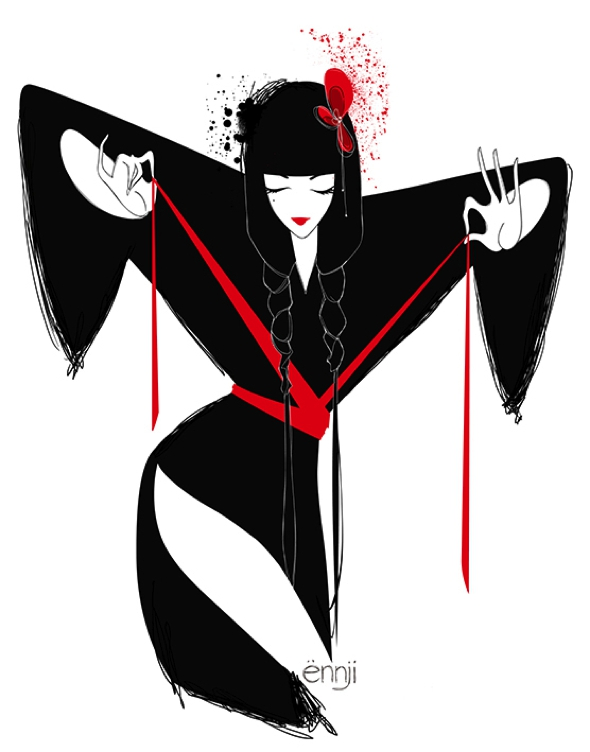 , Illustration de Mode par Ennji : Silhouettes Féminines en Rouge et Noir