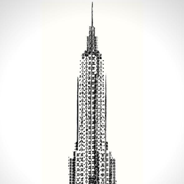 , Étonnante Affiche de l'Empire State Building Peinte avec des Traces de Vélos