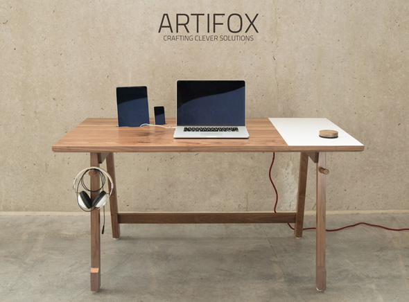 Bureau Bois Artifox Desk MacBook iPhone iPad 1 - Un Bureau en Bois Taillé pour votre MacBook, iPad et iPhone
