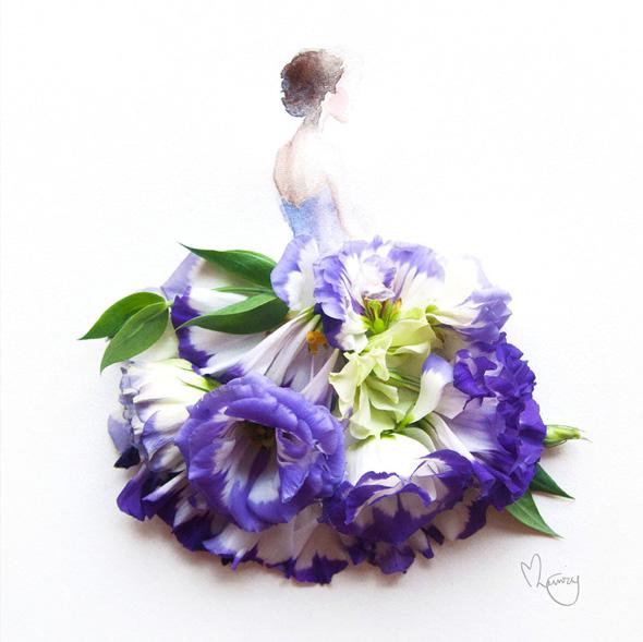 love limzy lim-zhi wei robes aquarelles fleurs, Robes en Aquarelles Composées de Vraies Fleurs
