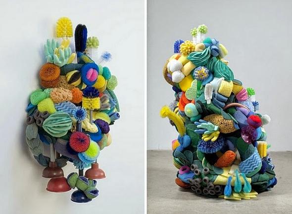, Etonnants Récifs Coralliens Sculptés avec des Objets Recyclés