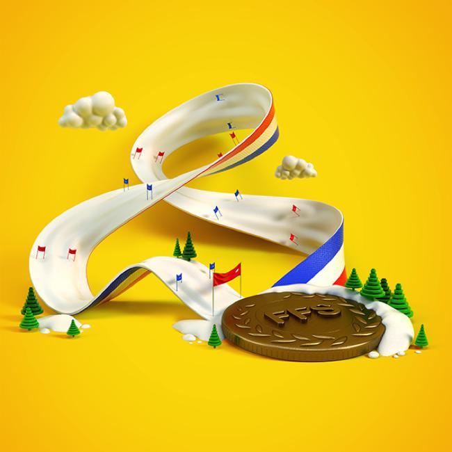 benoit challand illustration ski ffs pub 2015 00 - Fédération Française de Ski, une Campagne Illustrée Rafraîchissante