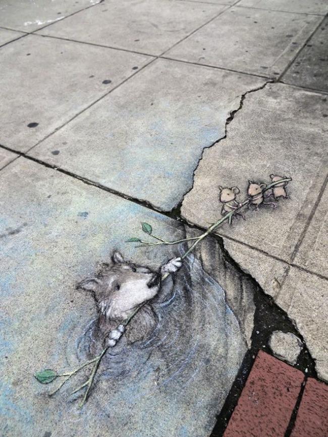 , David Zinn, le Street Artiste qui fait vivre ses Illustrations 3D dans le Paysage Urbain