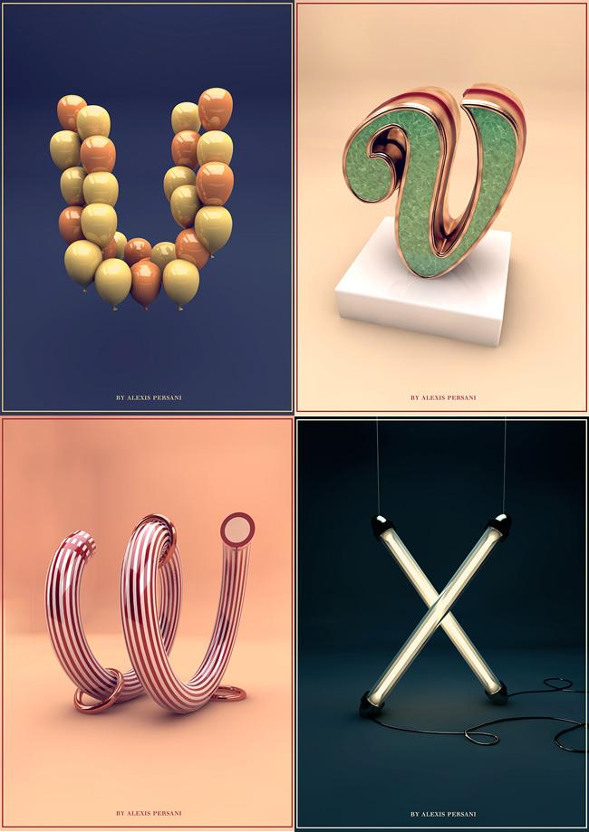 , Alphabet en 3D Sculptural et Typographique par Alexis Persani