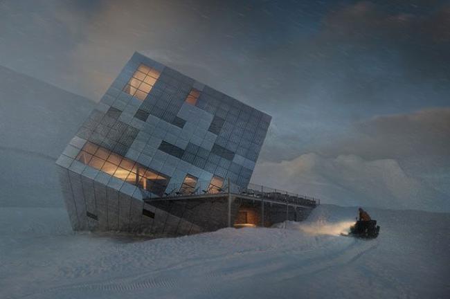 atelier 8000 chalet montagne cube architecture kezmarske hut 00 - Le Chalet Cube Futuriste Niché dans les Montagnes des Carpates