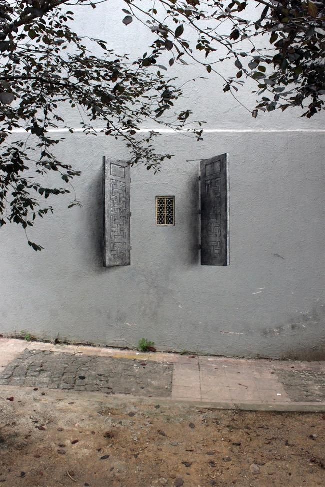 street art pejac illusion optique trompe oeil istanbul 01 - Pejac peint en Trompe-l'Oeil des Fenêtres sur Cour dans les Rues d'Istanbul