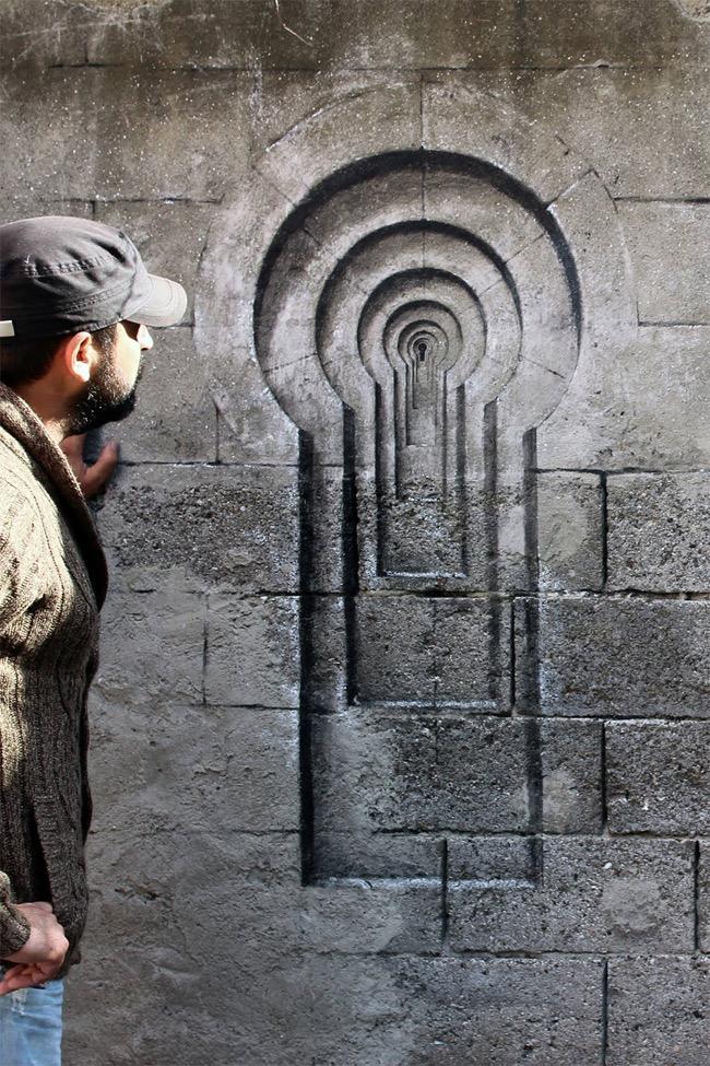 street art pejac illusion optique trompe oeil istanbul 02 - Pejac peint en Trompe-l'Oeil des Fenêtres sur Cour dans les Rues d'Istanbul
