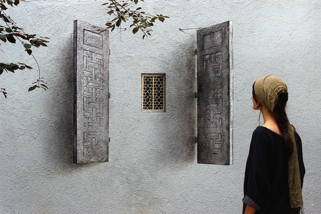 street art pejac illusion optique trompe oeil istanbul 04 - Pejac peint en Trompe-l'Oeil des Fenêtres sur Cour dans les Rues d'Istanbul