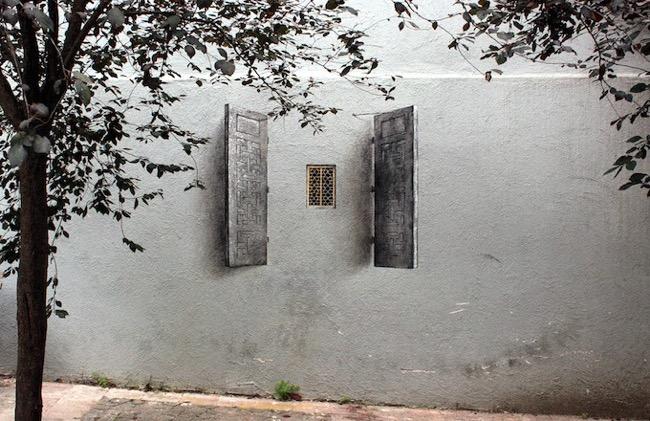 , Pejac peint en Trompe-l'Oeil des Fenêtres sur Cour dans les Rues d'Istanbul